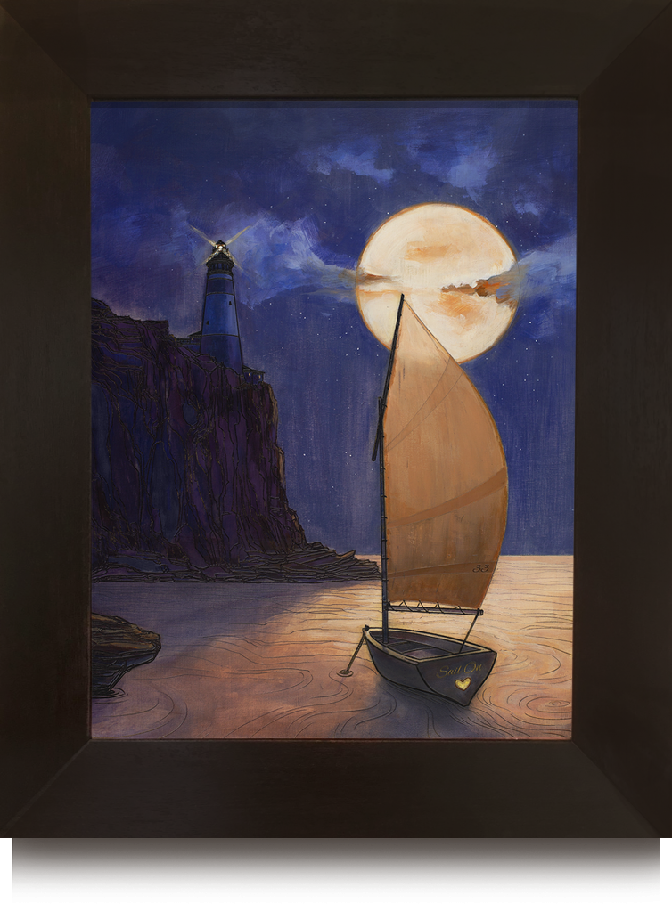 Small sailboat in harbor on a sea of gold with moonlit sky and lighthouse